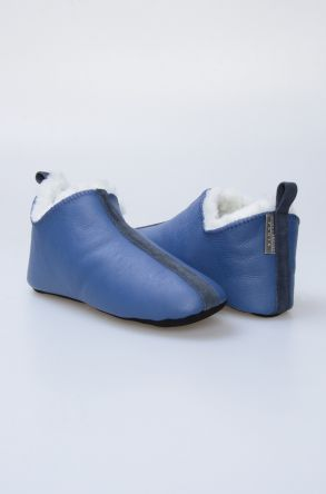Pegia Hakiki Kürk Bayan Ev Ayakkabısı 980562 Mavi