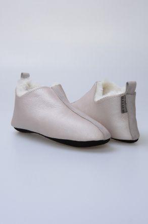 Pegia Hakiki Kürk Bayan Ev Ayakkabısı 980500 Gümüş
