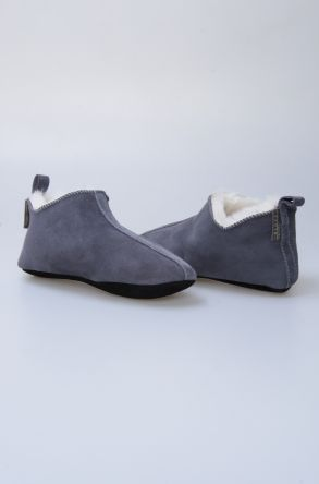Pegia Women House Shoes From Genuine Suede And Sheepskin Fur 191094 Gray
