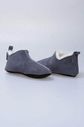 Pegia Hakiki Süet İçi Kürk Bayan Ev Ayakkabısı 191094 Gri