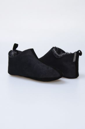 Pegia Women House Shoes From Genuine Suede And Sheepskin Fur 191094 Black