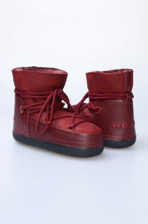 Cool Moon Genuine Leather & Shearling Women's Snowboots 251040 Claret red