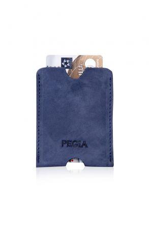 Pegia Hakiki Nubuk Deri Kartlık Cüzdan 19CZ202 Koyu Mavi