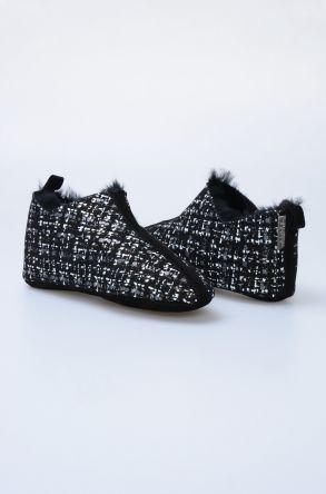 Pegia Hakiki Kürk Desenli Bayan Ev Ayakkabısı 101298 Gri