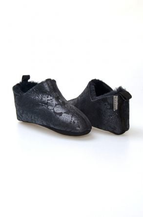 Pegia Hakiki Kürklü Desenli Bayan Ev Ayakkabısı 980560 Siyah